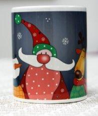 Коледна чаша Дядо Коледа със Снежен човек и елен