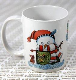 Коледна чаша Снежен човек с шейна