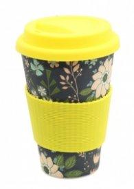 Еко чаша от бамбук Цветя Жълта
